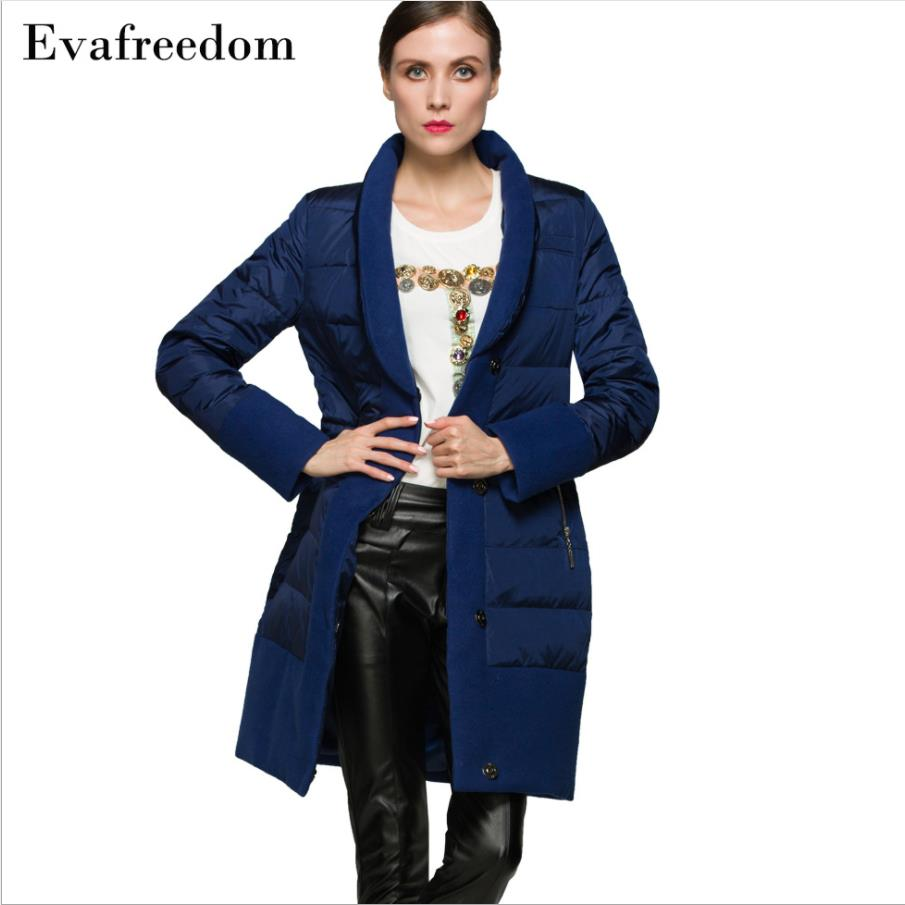 90% duck   down   warm   down     coat   2019 Europe   down   jacket long fashion creative stitching woolen   down     coat   w1105