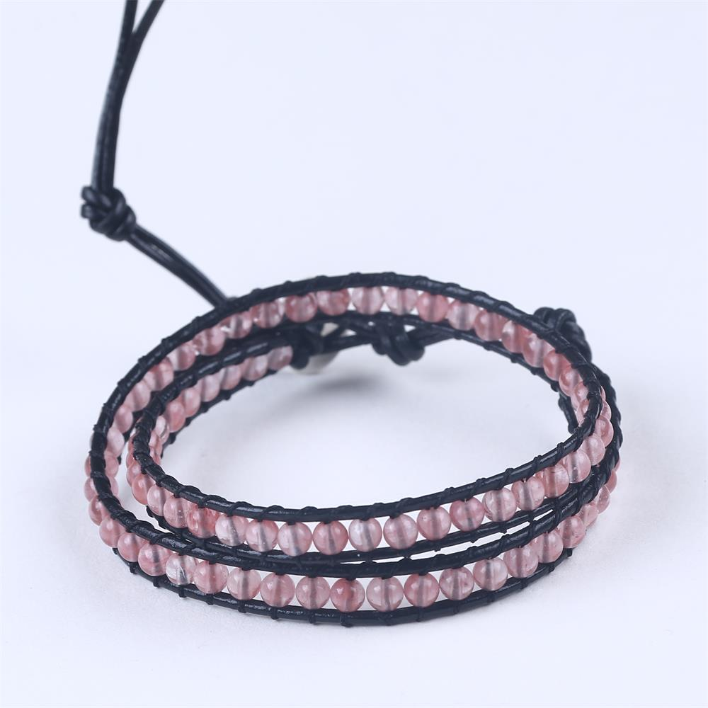 Strawberry crystal pink beads one laps weaving black leather cord bracelet