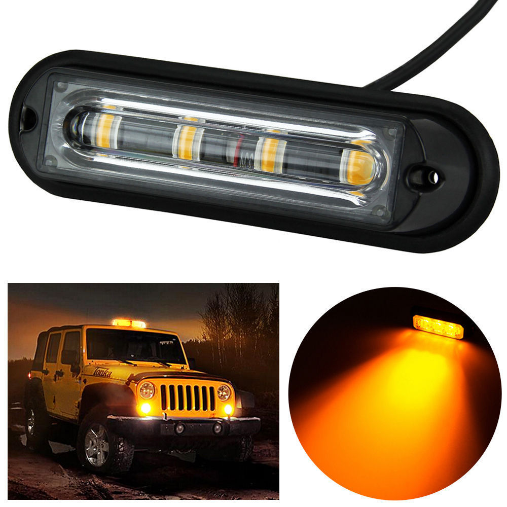 4 LED Car Truck RV Emergency Beacon Flash Light Bar Hazard Strobe Warning Amber