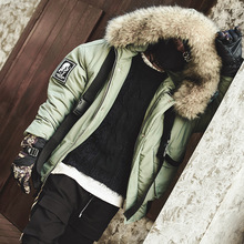 Men Winter Warm Thick Fur Collar Ribbon Hooded Parkas Jacket Male Streetwear Hip Hop Cotton Padded