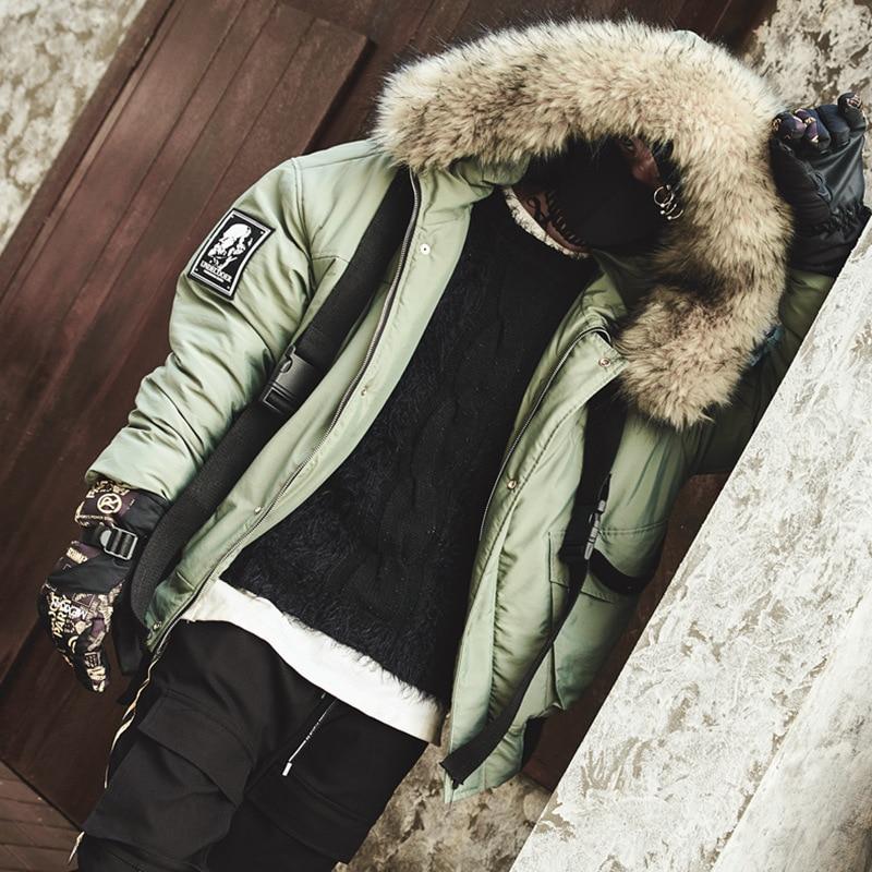 Men Winter Warm Thick Fur Collar Ribbon Hooded   Parkas   Jacket Male Streetwear Hip Hop Cotton Padded Coat Fashion Overcoat
