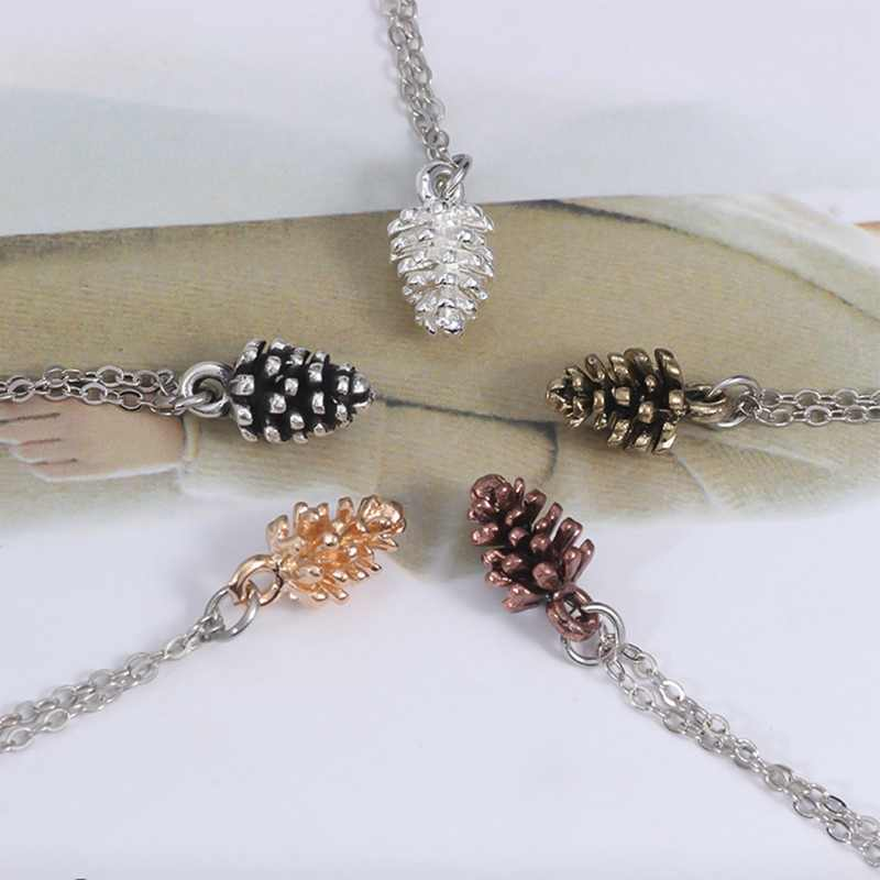 Pine Cone Pendant Necklace Clavicle Link Chain For Women Men Antique Gold Silver Acorn Charm Choker Necklace Jewelry Accessories