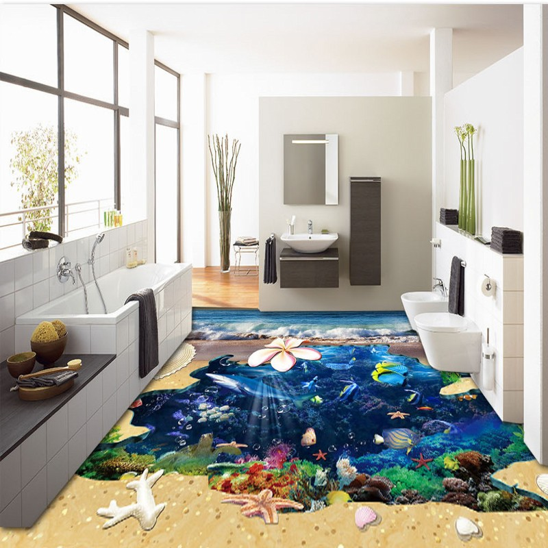 Free Shipping Sea Shell 3D painting living room bathroom bedroom self-adhesive non-slip square lobby flooring wallpaper mural free shipping marble texture parquet flooring 3d floor home decoration self adhesive mural baby room bedroom wallpaper mural