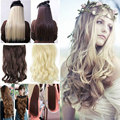 US Fast 5 Clips 100% Natural Long as real hair Half Full Head Clip in Hair Extensions Curly wavy Black Blonde Brown Red