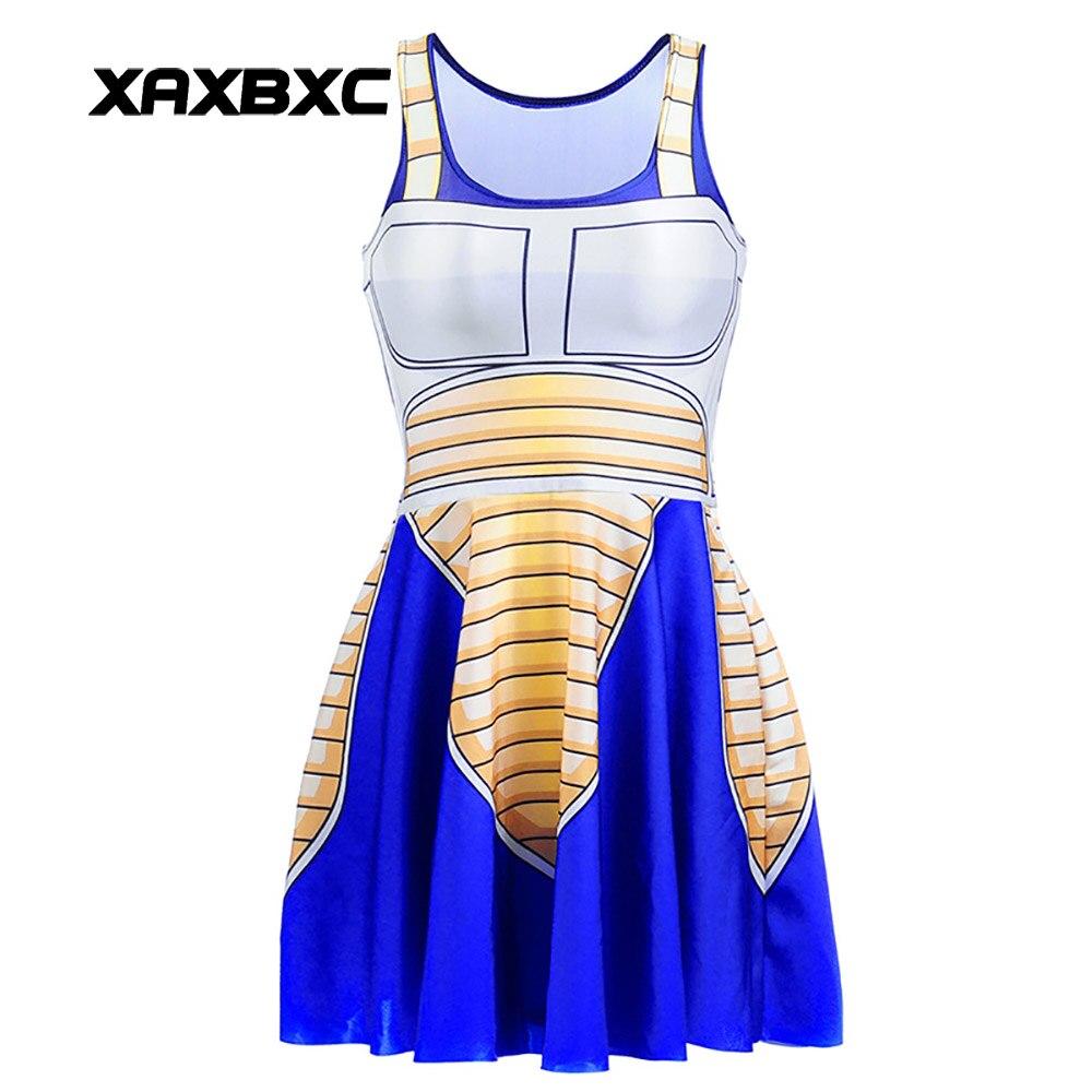 NEUE 1306 Sexy Mädchen Sommer Dragon Ball Vegeta 3D Drucken Reversible Sleeveless Skater Frauen Gefaltetes Einteiliges Kleid Plus größe