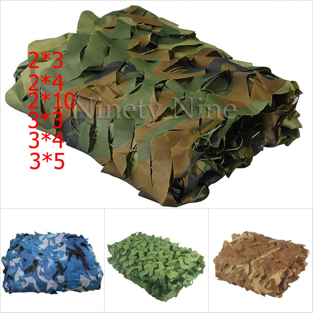 2X3m To 5X10m Outdoor Camping Military Camouflage Nets Woodland Army Camo Netting Camping Sun ShelterTent Shade Sun Shelter