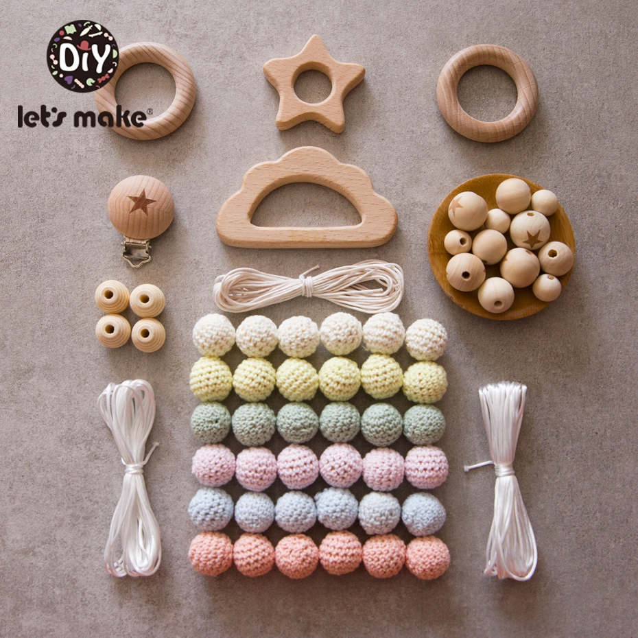 Let's Make Baby Wooden Teether 1 Set Diy Holder For Nipples Personalized Infant Crib Bed Stroller Toy Spiral Baby Teether