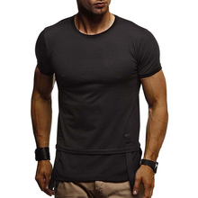 Casual O Neck Men T-shirt Short Sleeve Solid Cotton Summer Man T-Shirt Bodybuilding Tops Slim Tee Fashion Male Clothing D40