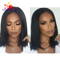 Short Cut Bob Wigs 10 Inch Silky Straight Synthetic Lace Front Wig Black Color In Stock Cheap Hair Wigs Women Wigs