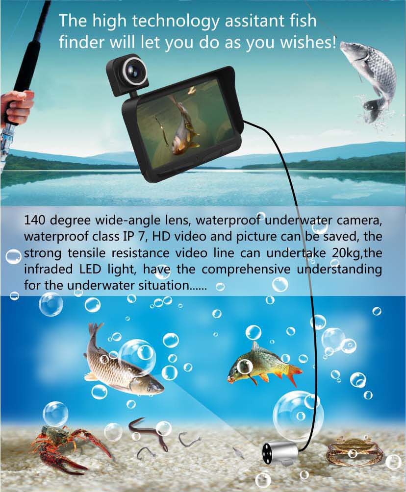 HD Underwater Video Camera System with 4.3 LCD Monitor 4000mAh Battery Built-in & 20M 2MP Fishing Camera and AHD Camera on LCD_17