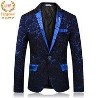 Тан Прохладный 2018 Новый Для мужчин Повседневное мужской костюм пиджак куртка Slim Fit для свадьбы и выпускного Стадия Цветочные пиджаки