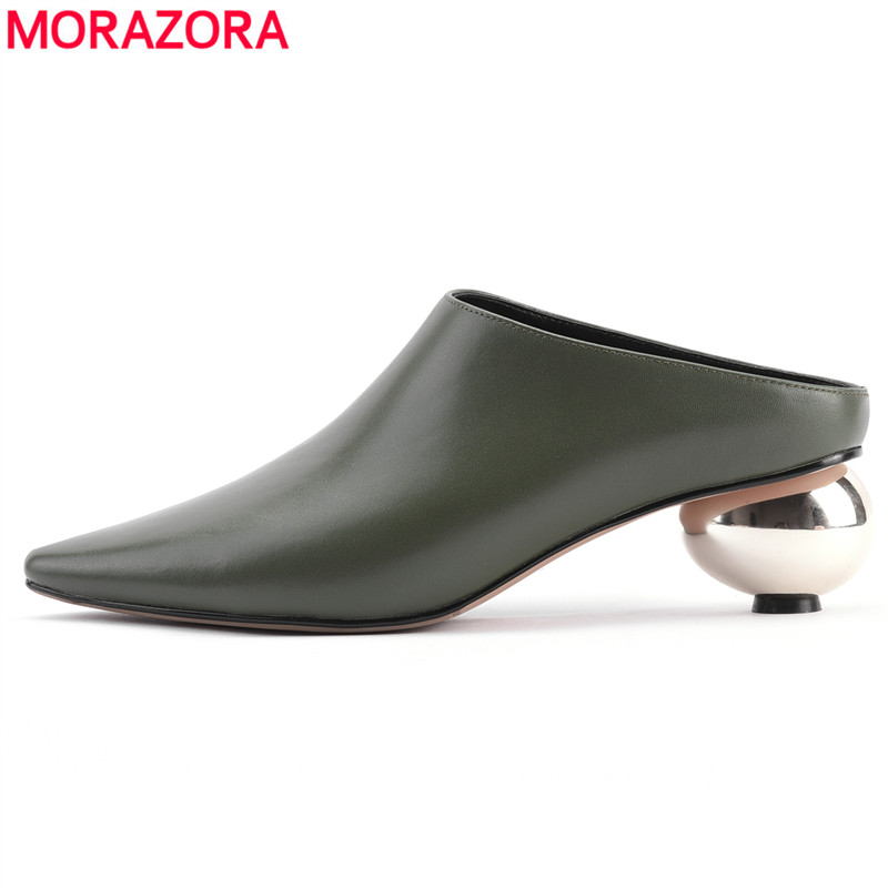 MORAZORA 2019 new arrival pumps women shoes genuine leather summer shoes pointed toe fashion mules shoes
