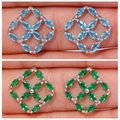 New ! Fashion & Luxury & Wholesale & Retail For Women Jewelry Blue Zircon & Green Quartz Silver Stud Earrings 15mm FH5486-87