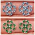 New ! Fashion & Luxury & Wholesale & Retail For Women Jewelry Blue Zircon & Green Quartz Silver Stud Earrings 15mm FH5486-87