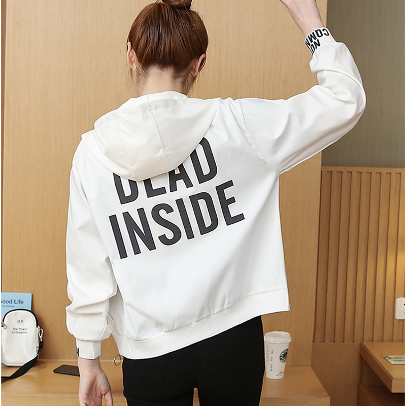 Women Short Coat 2019 Spring Autumn Korean Printing Baseball Hoodes Thin   Jacket   Ladies Tunic   Basic     Jacket   Female Outwear Tops
