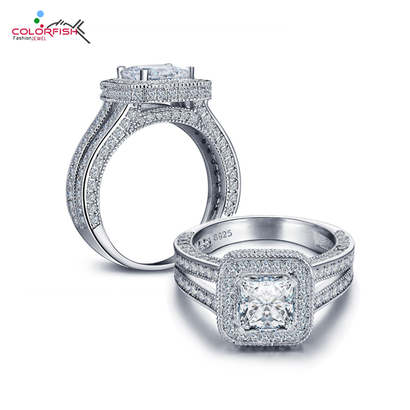 COLORFISH Silver Halo Engagement Ring For Women Square Cut 1.6 Carat Cubic Zirconia Real 925 Sterling Silver Split Wedding Ring