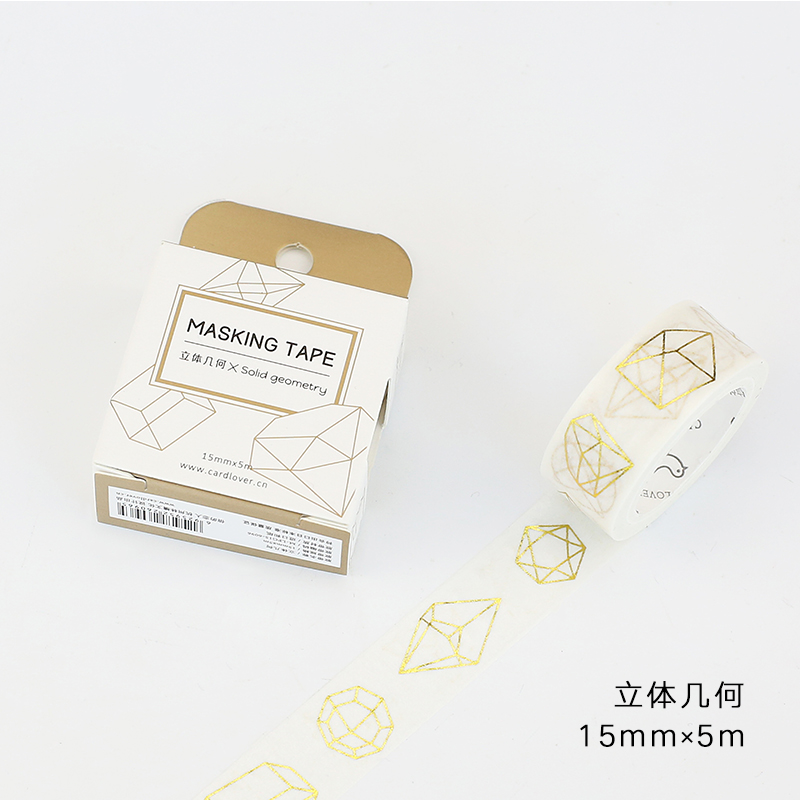 15mm Wide Vintage Gold Solid Geometry Figure Decoration Washi Tape DIY Planner Diary Scrapbooking Masking Tape Escolar
