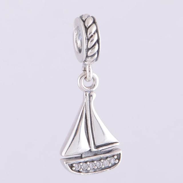 87840dd2a Authentic 925 Sterling Silver Sail Boat Charm Pendant Fits Pandora Charms  Bracelet Necklace DIY Jewelry Making