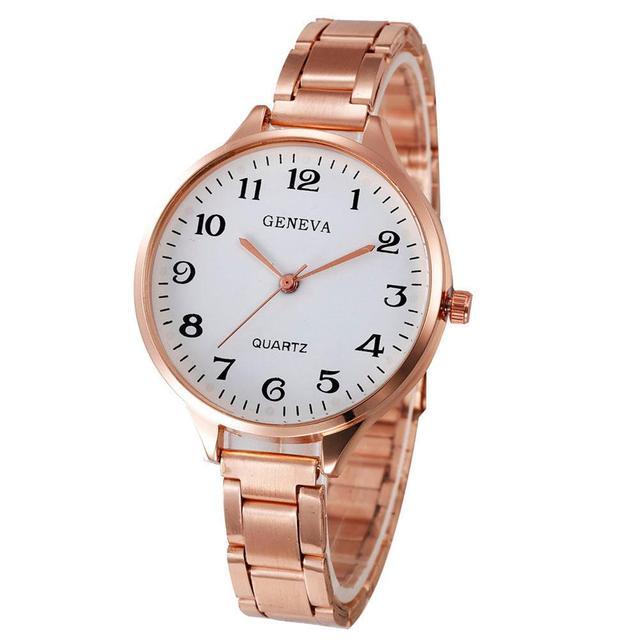 Women Watches Fashion Elegant Metal Stainless Steel Strap Quartz Wrist Watch Lux