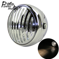 For Harley Bobber Choppers Cruisers Custom Streetfighter Chrome Motorcycle Retro Mesh Grill 6.5 Round Headlight Front Lamp