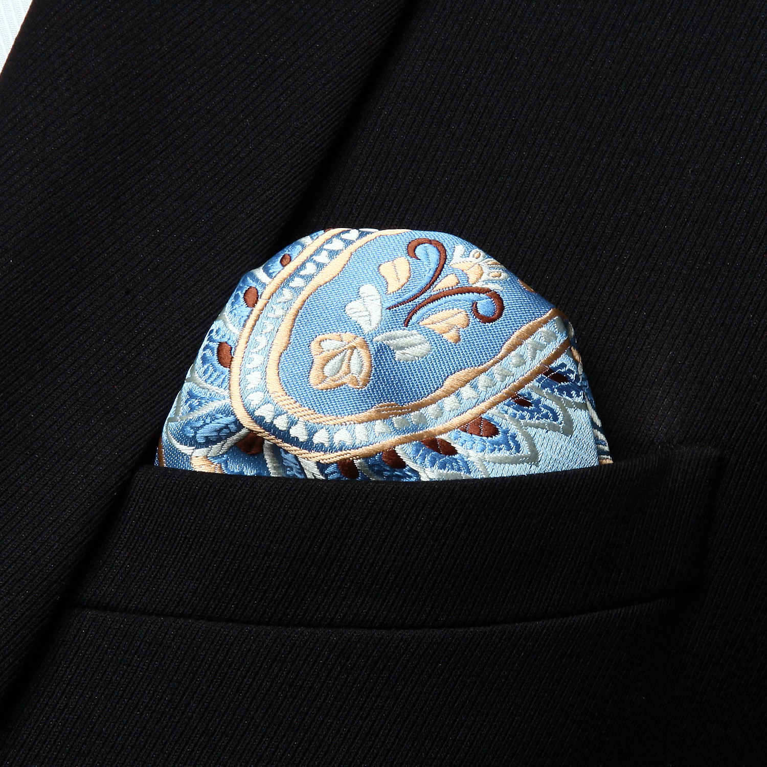 RP928BS Blue Gold Paisley Men Silk Cravat Scarves Ascot Tie Handkerchief Set