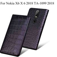 For Nokia X6 X 6 2018 TA 1099 5.8 inch Case cover Luxury Genuine Leather flip Back Cover For Nokia X6 2018 case back shell