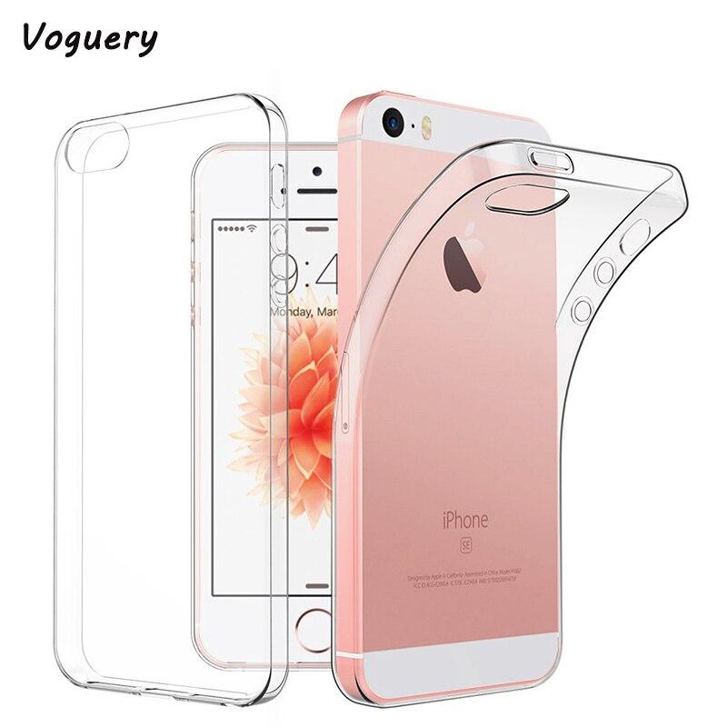 Voguery Crystal Clear Мягкие TPU чехол для iPhone 5S чехол Прозрачный Ультра тонкий кожи, чехол для iPhone 5S se задняя крышка Fundas