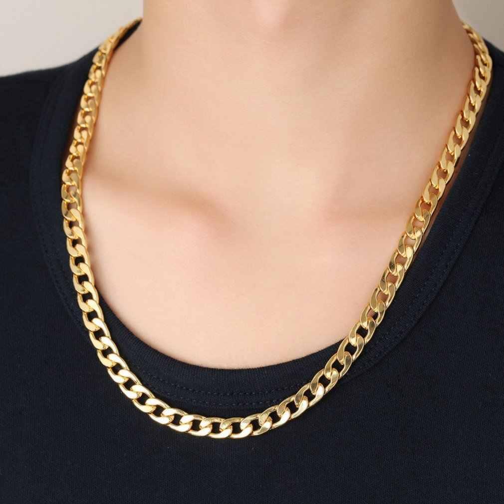 パンクヒップホップゴールドチェーンパラッパラッパー男性ネックレスストリートファッション人気金属合金ロングチェーン装飾宝石の存在