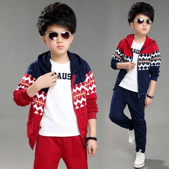 2016 9 11 13 лет детская одежда осень наборы 2 шт. костюмы мальчики девушка Ткань Дети детский Набор мальчиков Куртка + брюки мальчиков одежда набор