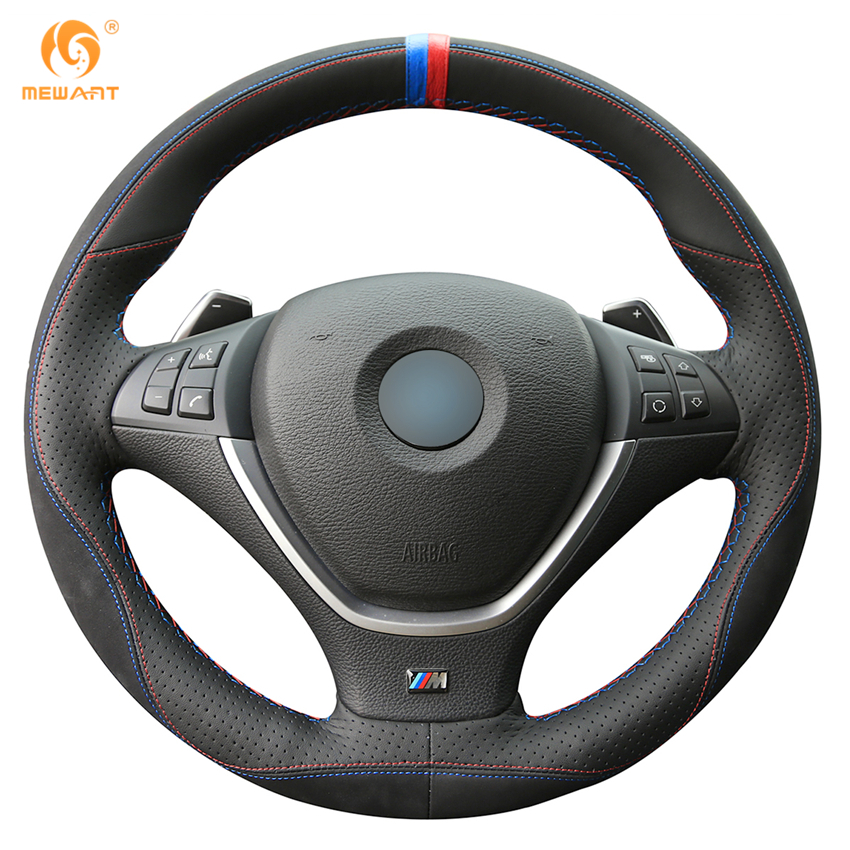 MEWANT Black Leather Black Suede Car Steering Wheel Cover for BMW E70 X5 2008-2013 E71 X6 2008-2014 car styling cowl leather steering wheel cover for lexus nx200t nx300h is250 ct200h is200t