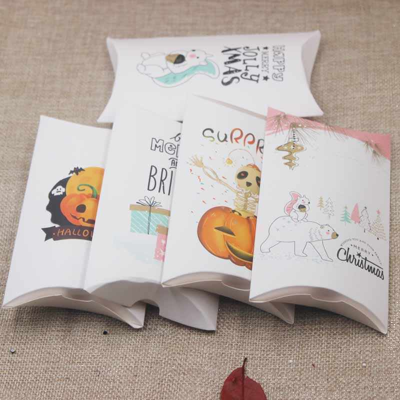 Weiye storegift package 10pcs 8x5.5x2cm/12.5x7x2cm pillow box white/ kraft halloween Merry christmas happy new year pillow gifts