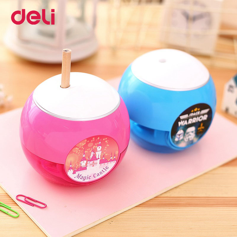 Deli Cute Electric Pencil Sharpener For Student Stationery School Supplies Pencil Sharpeners Creative Automatic Desktop new arrival deli sweet house children pencil sharpeners 0724 cute cartoon students mechanical pencils writing supplies blue