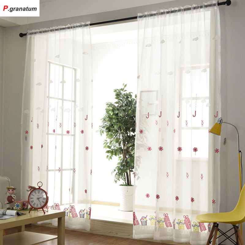 Single Panels Sheer Christmas Curtains For Living Room Kids Decoration Pink Embroidered Voile Curtains For Children