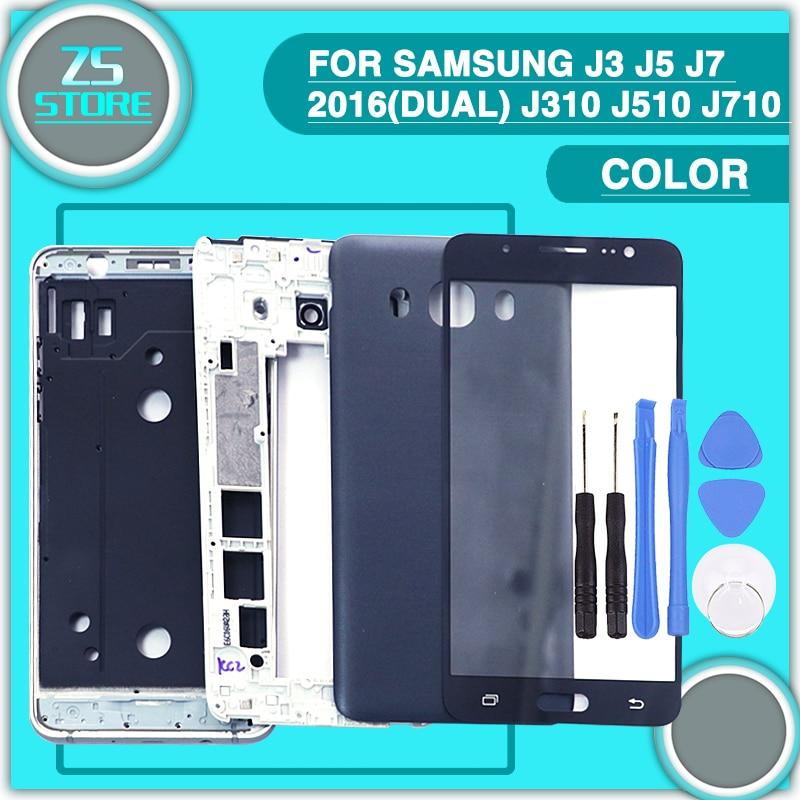 new For Samsung J3 J5 J7 2016(Dual) Touch Glass Lens +Front Middle Frame +Battery Back Cover J310 J510 J710 Full Housing Case