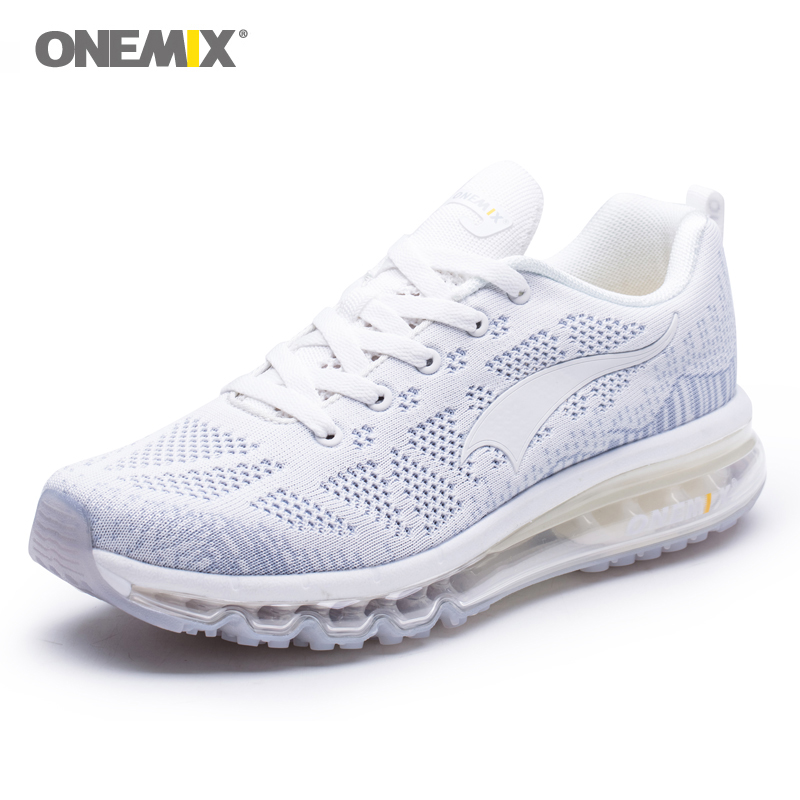 Onemix men s sport air cushion running shoes men s white black sneakers breathable mesh outdoor