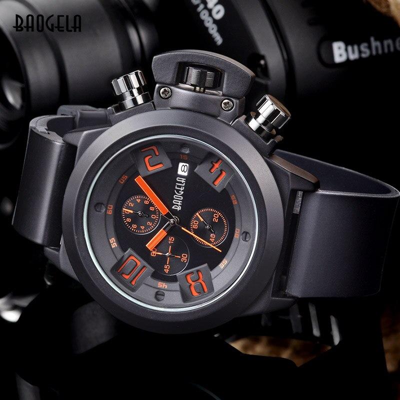 BAOGELA Relogio Mode Quarzuhr Mann Leuchtende Silikon Uhren Männer Heißer Kalender Armbanduhr Für Männlichen Chronograph sport stunde