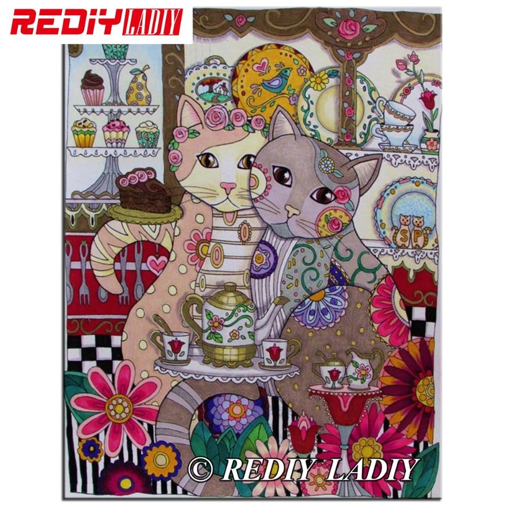 REDIY LADIY Diamond Embroidery Cartoon Cats Diamond Painting Cross Stitch Full Square Rhinestones Mosaic Wall Arts Home Decor