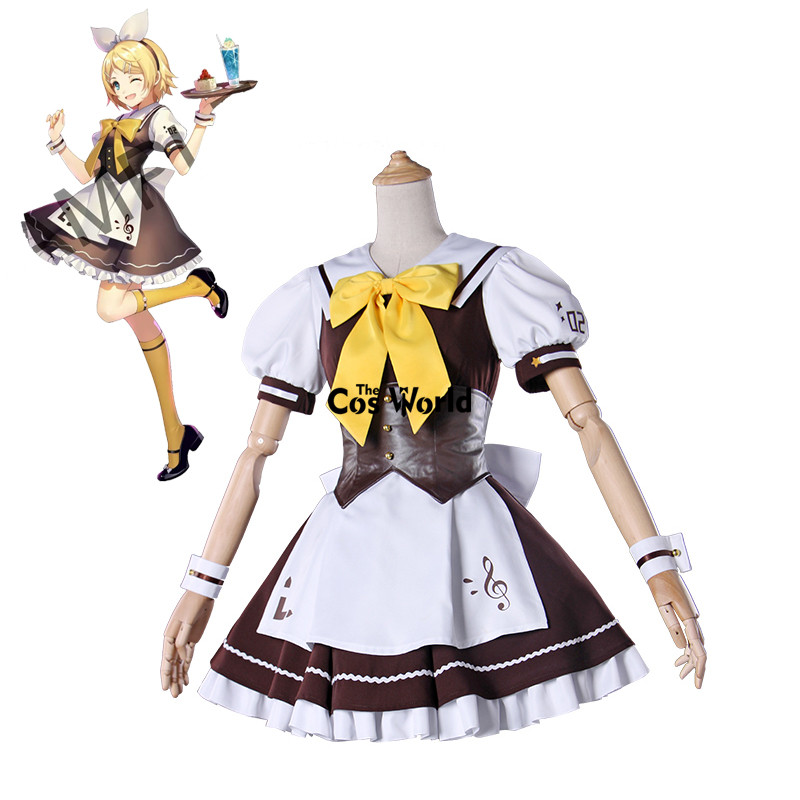 Vocaloid Kagamine Rin Cafe Lolita Maid Apron Dress Uniform ...