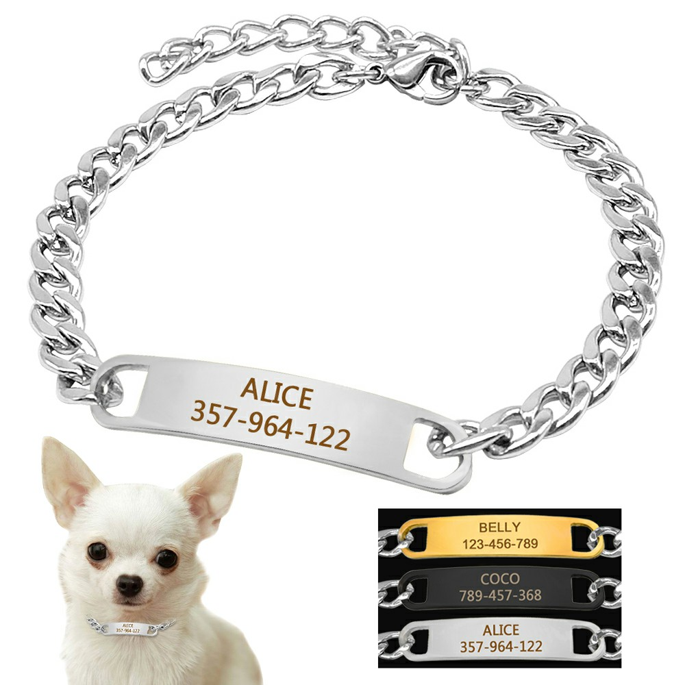 Dog Training Collar With ID Dog Tag Snake P Slip Chians Choke Collar Metal Chain For Small Medium Pets 22-30cm Black Gold Silver