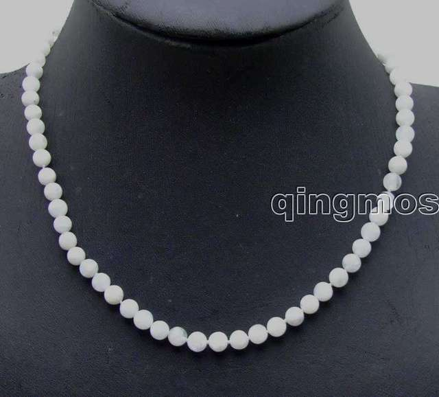 "SALE! Genuine small 6mm Perfect Round White Natural High quality MoonStone 18"" necklace-nec5820 Free shipping"