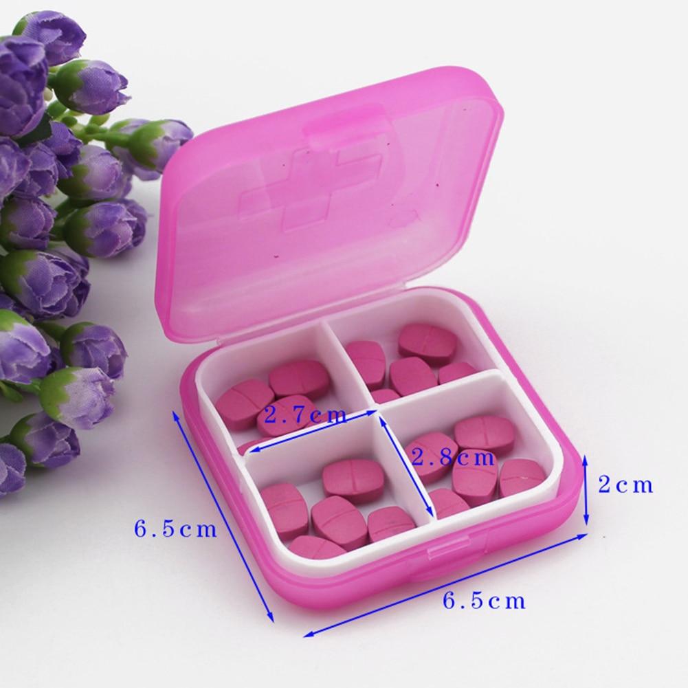 4 Slots Square Travel Pill Cases Outdoor Vitamin Cases Medicines Pill Box Portable Medicine Holder Pastillero 3