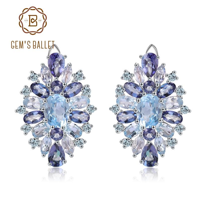 GEM S BALLET 925 Sterling Silver Stud Earrings with Flower Shape Natural Sky Blue Topaz Mystic