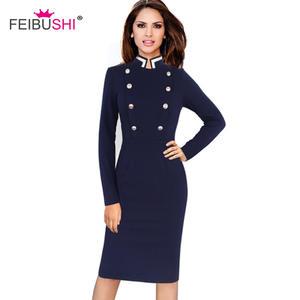 FEIBUSHI Office Elegant Long Sleeve Party Bodycon Dress 0daf04ed6fee