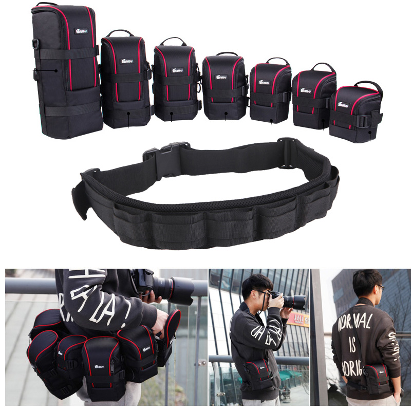 Photo Adjustable Strap DSLR Padded Camera Waist Belt Holder W/ Nylon Functional Soft Padded Lens Bag Pouch Case For Canon Nikon
