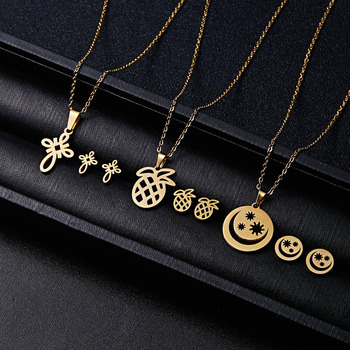 RINHOO Fish Horse Wing Rose Flower Gold Color Stainless Steel Necklace Earrings Jewelry Set 2