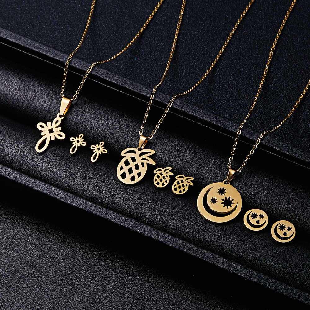 RINHOO Fish Horse Wing Rose Flower Gold Color Stainless Steel Sets For Women Necklace Earrings Jewelry Set Wedding Jewelry