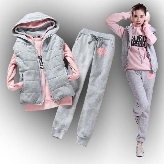 c1ec09f84a 2017 venda Quente das Mulheres camisola calças colete 3 peças Set além de  veludo espessamento plus