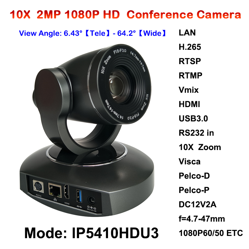 New 2megapixel 10X Zoom PTZ IP Streaming Camera with Simultaneous HDMI and USB3.0 Outputs 2mp 1080p60 50 ptz ip streaming onvif poe camera visca pelco 20x optical zoom tripod with simultaneous hdmi and 3g sdi outputs