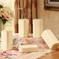 New Arrival Luxury White Ceramic Five Piece Bathroom Set Bathroom Supplies Kit SW0802