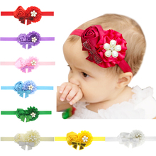 2017 New Fashion Style Hot Sell Scroll Flower Rose and Sequins Pearl hair band for newborn Hair Accessories H103